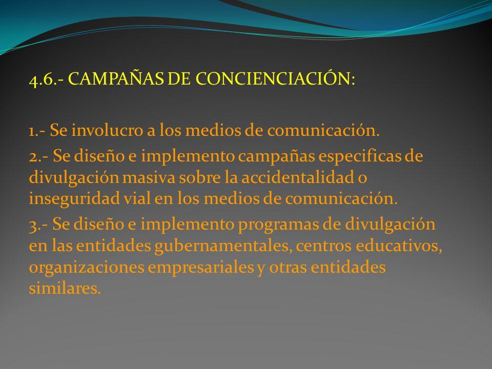 4.6.- CAMPAÑAS DE CONCIENCIACIÓN: 1.- Se involucro a los medios de comunicación. 2.- Se diseño e implemento campañas especificas de divulgación masiva