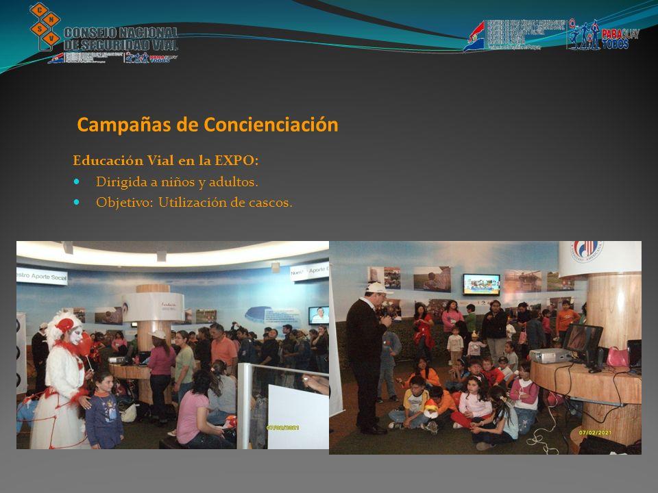 Educación Vial en la EXPO: Dirigida a niños y adultos. Objetivo: Utilización de cascos. Campañas de Concienciación