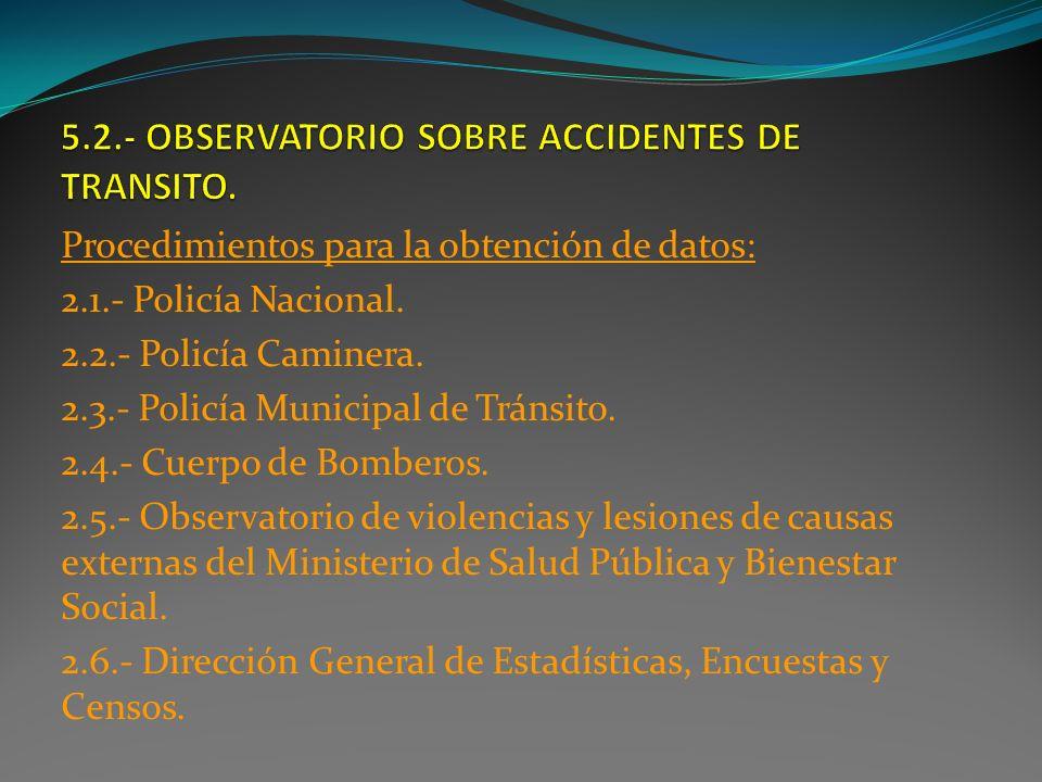 Procedimientos para la obtención de datos: 2.1.- Policía Nacional. 2.2.- Policía Caminera. 2.3.- Policía Municipal de Tránsito. 2.4.- Cuerpo de Bomber