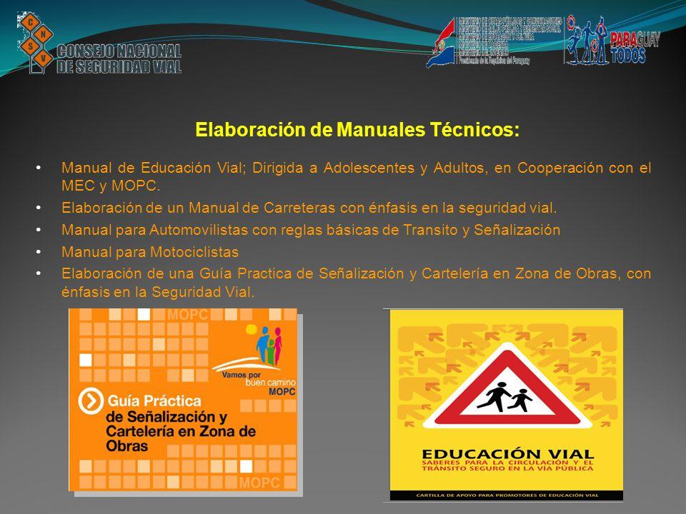 Manual de Educación Vial; Dirigida a Adolescentes y Adultos, en Cooperación con el MEC y MOPC. Elaboración de un Manual de Carreteras con énfasis en l