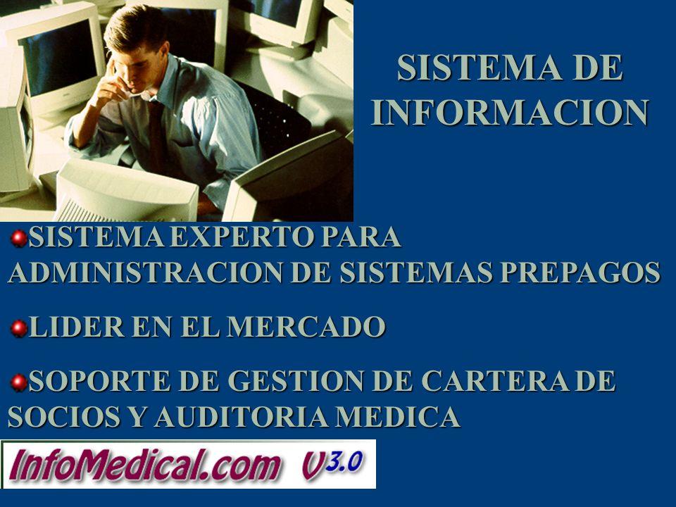 SISTEMA EXPERTO PARA ADMINISTRACION DE SISTEMAS PREPAGOS LIDER EN EL MERCADO SOPORTE DE GESTION DE CARTERA DE SOCIOS Y AUDITORIA MEDICA SISTEMA DE INF