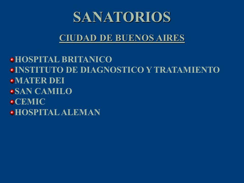 SANATORIOS ZONA NORTE HOSPITAL BRITANICO ZONA NORTE HOSPITAL UNIVERSITARIO AUSTRAL SANATORIO SAN LUCAS CLINICA ANGELUS CLINICA BESSONE CLINICA NTRA SRA.