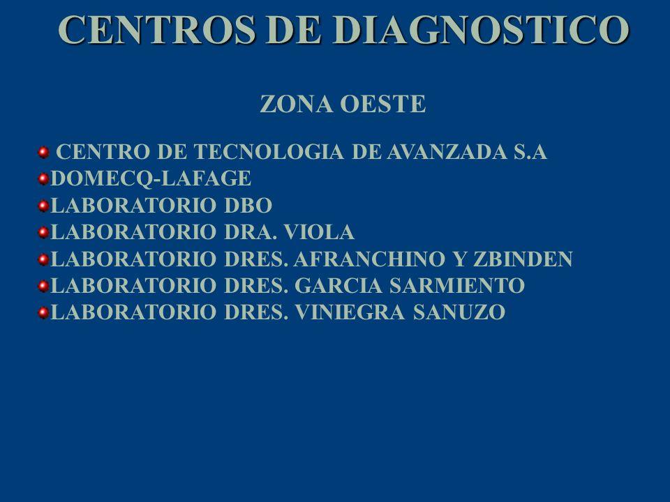 CENTROS DE DIAGNOSTICO CENTRO DE TECNOLOGIA DE AVANZADA S.A DOMECQ-LAFAGE LABORATORIO DBO LABORATORIO DRA. VIOLA LABORATORIO DRES. AFRANCHINO Y ZBINDE