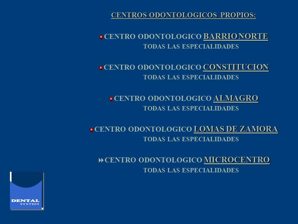 CENTROS ODONTOLOGICOS PROPIOS: BARRIO NORTE CENTRO ODONTOLOGICO BARRIO NORTE TODAS LAS ESPECIALIDADES CONSTITUCION CENTRO ODONTOLOGICO CONSTITUCION TO