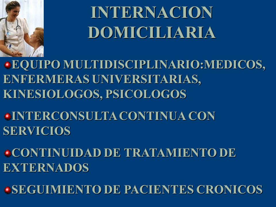 INTERNACION DOMICILIARIA EQUIPO MULTIDISCIPLINARIO:MEDICOS, ENFERMERAS UNIVERSITARIAS, KINESIOLOGOS, PSICOLOGOS INTERCONSULTA CONTINUA CON SERVICIOS C