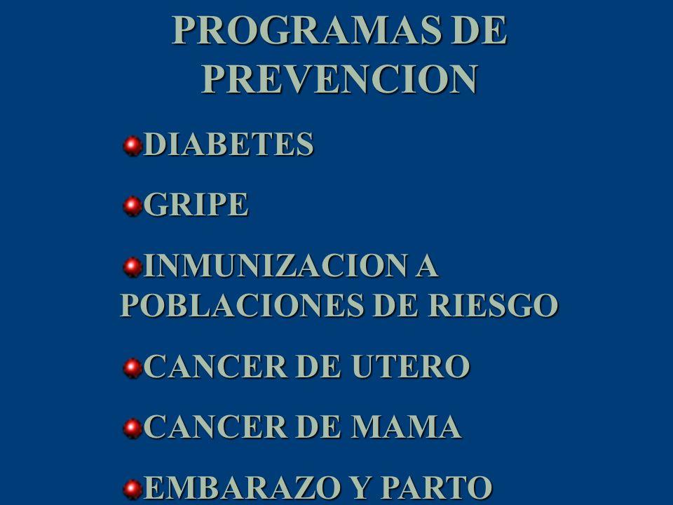 PROGRAMAS DE PREVENCION DIABETESGRIPE INMUNIZACION A POBLACIONES DE RIESGO CANCER DE UTERO CANCER DE MAMA EMBARAZO Y PARTO