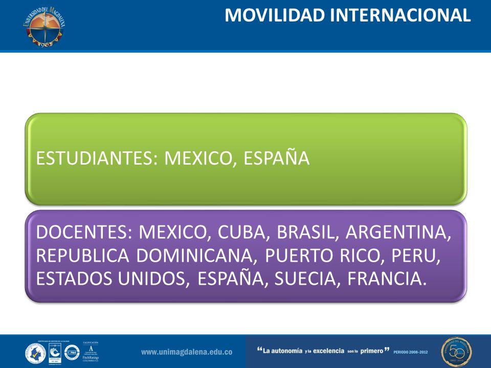 MOVILIDAD INTERNACIONAL ESTUDIANTES: MEXICO, ESPAÑA DOCENTES: MEXICO, CUBA, BRASIL, ARGENTINA, REPUBLICA DOMINICANA, PUERTO RICO, PERU, ESTADOS UNIDOS