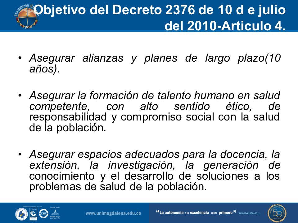 Objetivo del Decreto 2376 de 10 d e julio del 2010-Articulo 4. Asegurar alianzas y planes de largo plazo(10 años). Asegurar la formación de talento hu