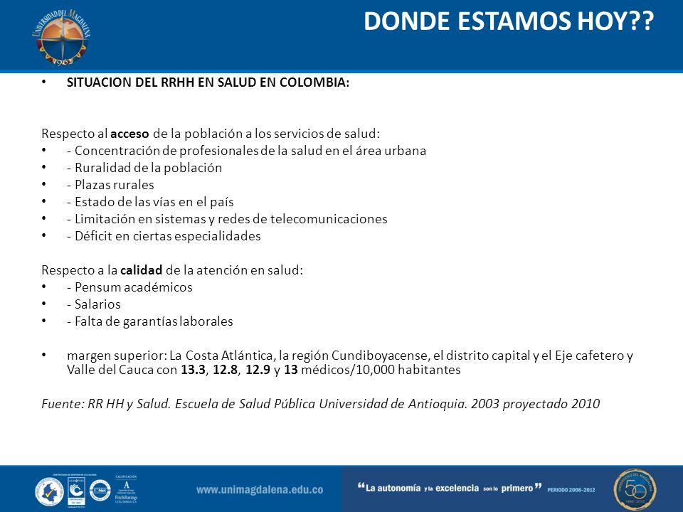 DONDE ESTAMOS HOY?? SITUACION DEL RRHH EN SALUD EN COLOMBIA: Respecto al acceso de la población a los servicios de salud: - Concentración de profesion