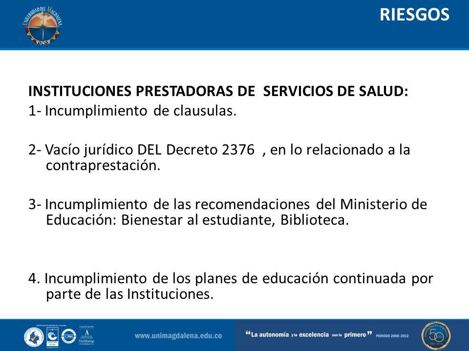 RIESGOS INSTITUCIONES PRESTADORAS DE SERVICIOS DE SALUD: 1- Incumplimiento de clausulas. 2- Vacío jurídico DEL Decreto 2376, en lo relacionado a la co