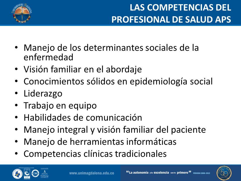 LAS COMPETENCIAS DEL PROFESIONAL DE SALUD APS Man Manejo de los determinantes sociales de la enfermedad Visión familiar en el abordaje Conocimientos s