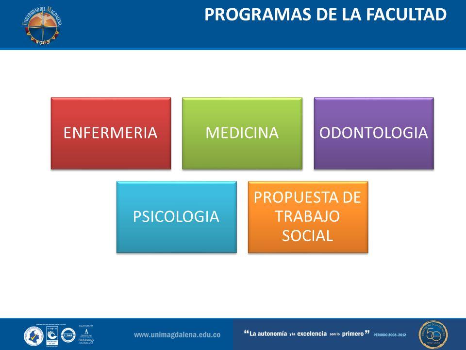 PROGRAMAS DE LA FACULTAD ENFERMERIAMEDICINAODONTOLOGIA PSICOLOGIA PROPUESTA DE TRABAJO SOCIAL
