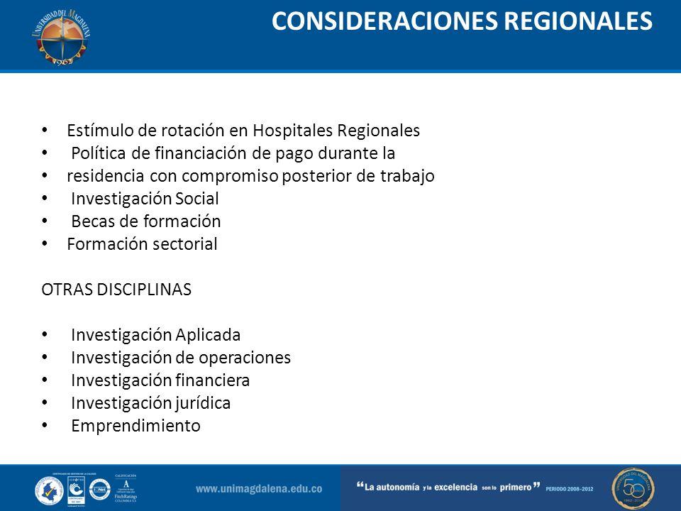 CONSIDERACIONES REGIONALES Estímulo de rotación en Hospitales Regionales Política de financiación de pago durante la residencia con compromiso posteri