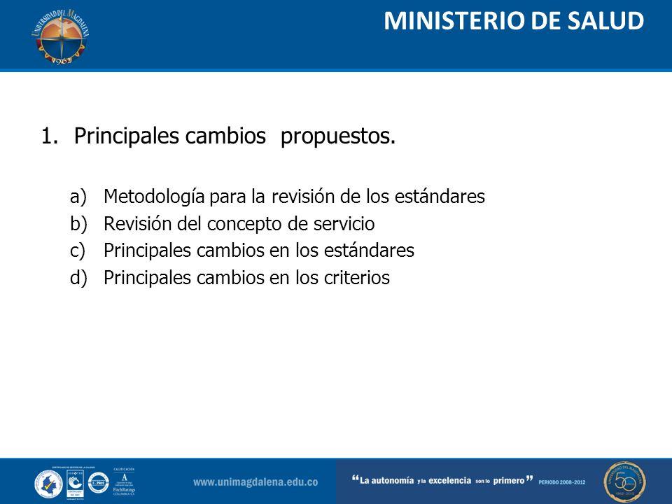 MINISTERIO DE SALUD 1.Principales cambios propuestos. a)Metodología para la revisión de los estándares b)Revisión del concepto de servicio c)Principal