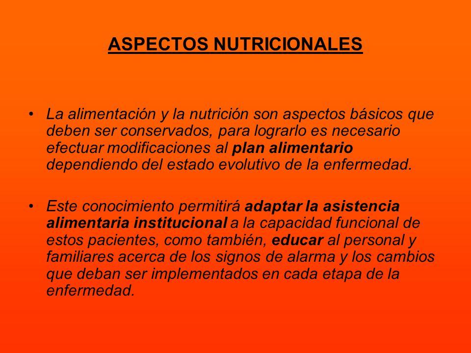 ASPECTOS NUTRICIONALES La alimentación y la nutrición son aspectos básicos que deben ser conservados, para lograrlo es necesario efectuar modificacion