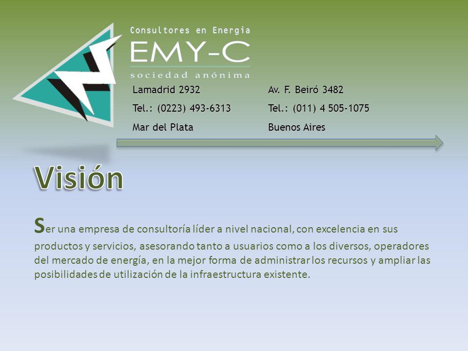 S atisfacer eficientemente las necesidades de los usuarios de energía con productos de consultoría y obras que generen la mejor ecuación costo-resultados y permitan la correcta planificación y utilización de los servicios energéticos.