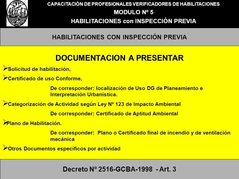 CAPACITACIÓN DE PROFESIONALES VERIFICADORES DE HABILITACIONES MODULO Nº 5 HABILITACIONES con INSPECCIÓN PREVIA PROFESIONALES QUE INTERVIENEN EN EL TRAMITE DE HABILITACION SEGÚN DECRETO 2516 /98 CONFECCIONA DOCUMENTACION TECNICA Y PLANOS EN CUMPLIMIENTO DE LA NORMATIVA APLICABLE EN CADA ACTIVIDAD.