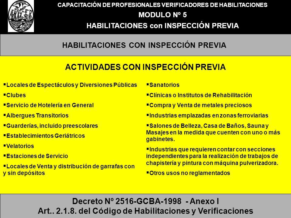 CAPACITACIÓN DE PROFESIONALES VERIFICADORES DE HABILITACIONES MODULO Nº 5 ACTIVIDADES A HABILITAR CON INSPECCIÓN PREVIA