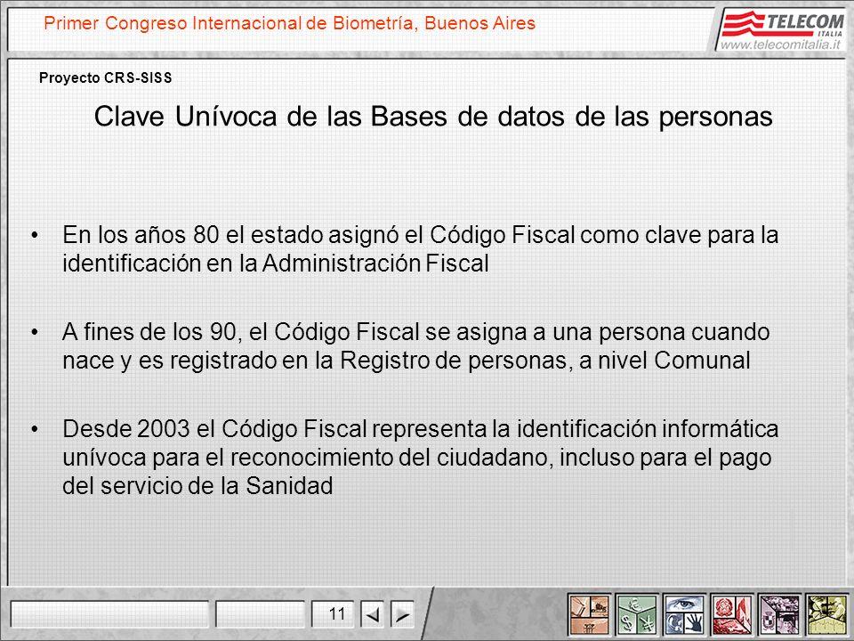 11 Primer Congreso Internacional de Biometría, Buenos Aires Proyecto CRS-SISS Clave Unívoca de las Bases de datos de las personas En los años 80 el es