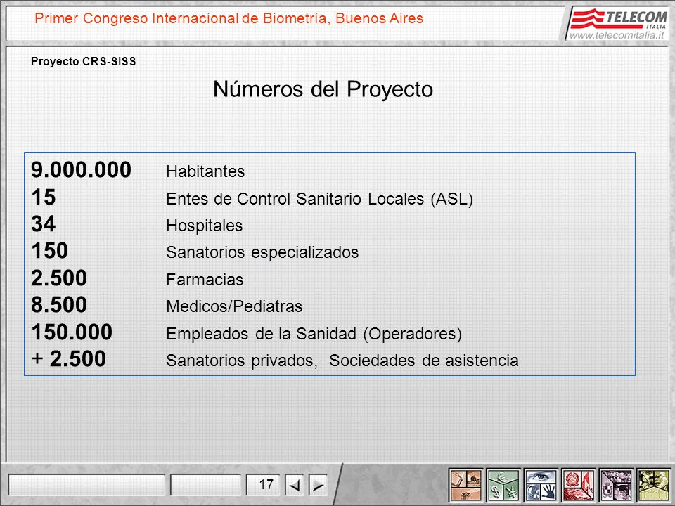 17 Primer Congreso Internacional de Biometría, Buenos Aires Proyecto CRS-SISS Números del Proyecto 9.000.000 Habitantes 15 Entes de Control Sanitario