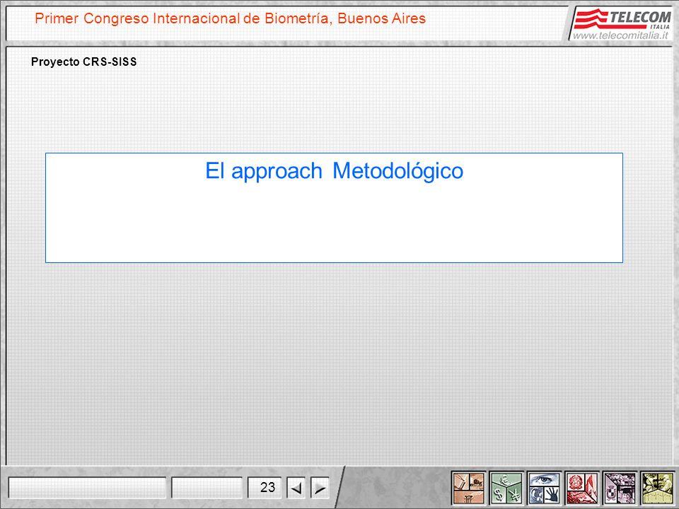 23 Primer Congreso Internacional de Biometría, Buenos Aires Proyecto CRS-SISS El approach Metodológico