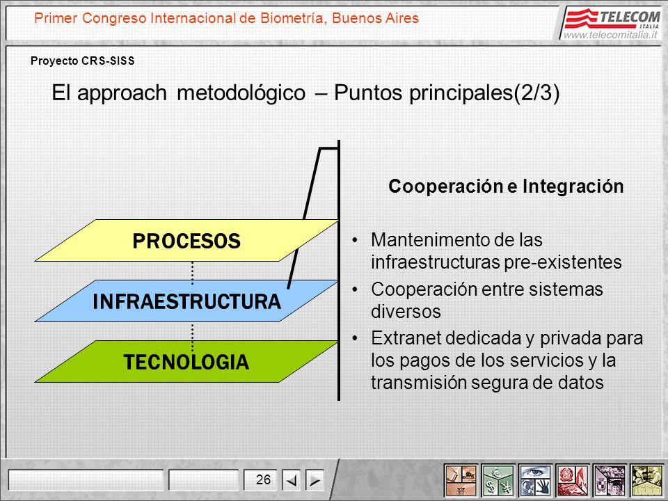 26 Primer Congreso Internacional de Biometría, Buenos Aires Proyecto CRS-SISS TECNOLOGIA INFRAESTRUCTURA Cooperación e Integración Mantenimento de las