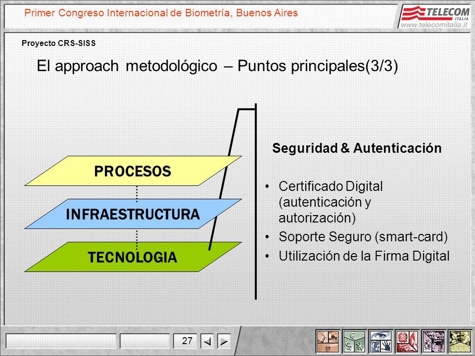 27 Primer Congreso Internacional de Biometría, Buenos Aires Proyecto CRS-SISS TECNOLOGIA Seguridad & Autenticación Certificado Digital (autenticación
