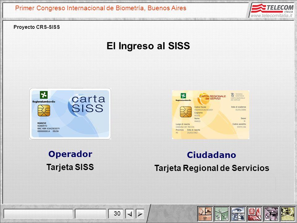 30 Primer Congreso Internacional de Biometría, Buenos Aires Proyecto CRS-SISS Operador Tarjeta SISS El Ingreso al SISS Ciudadano Tarjeta Regional de S