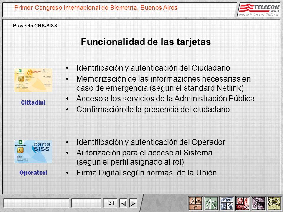 31 Primer Congreso Internacional de Biometría, Buenos Aires Proyecto CRS-SISS Cittadini Operatori Funcionalidad de las tarjetas Identificación y auten