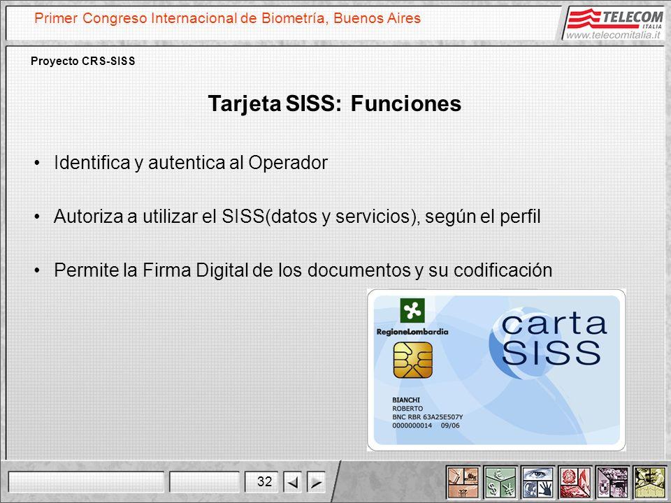 32 Primer Congreso Internacional de Biometría, Buenos Aires Proyecto CRS-SISS Tarjeta SISS: Funciones Identifica y autentica al Operador Autoriza a ut