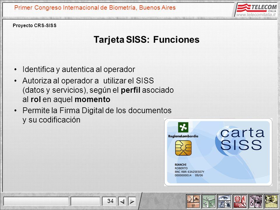 34 Primer Congreso Internacional de Biometría, Buenos Aires Proyecto CRS-SISS Tarjeta SISS: Funciones Identifica y autentica al operador Autoriza al o