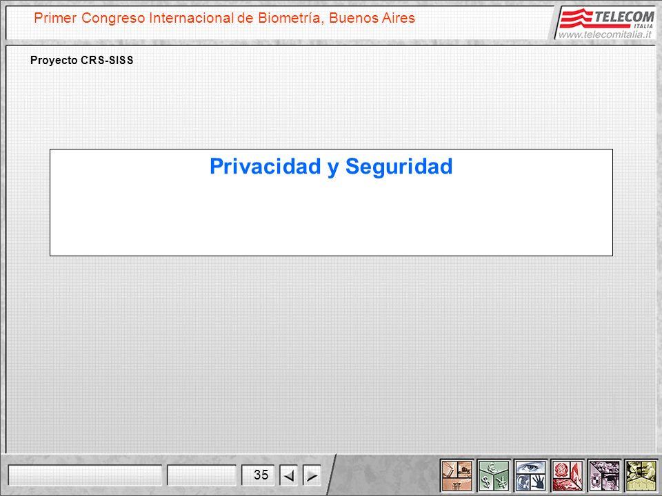 35 Primer Congreso Internacional de Biometría, Buenos Aires Proyecto CRS-SISS Privacidad y Seguridad