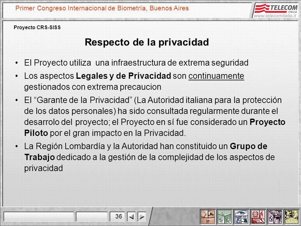 36 Primer Congreso Internacional de Biometría, Buenos Aires Proyecto CRS-SISS Respecto de la privacidad El Proyecto utiliza una infraestructura de ext