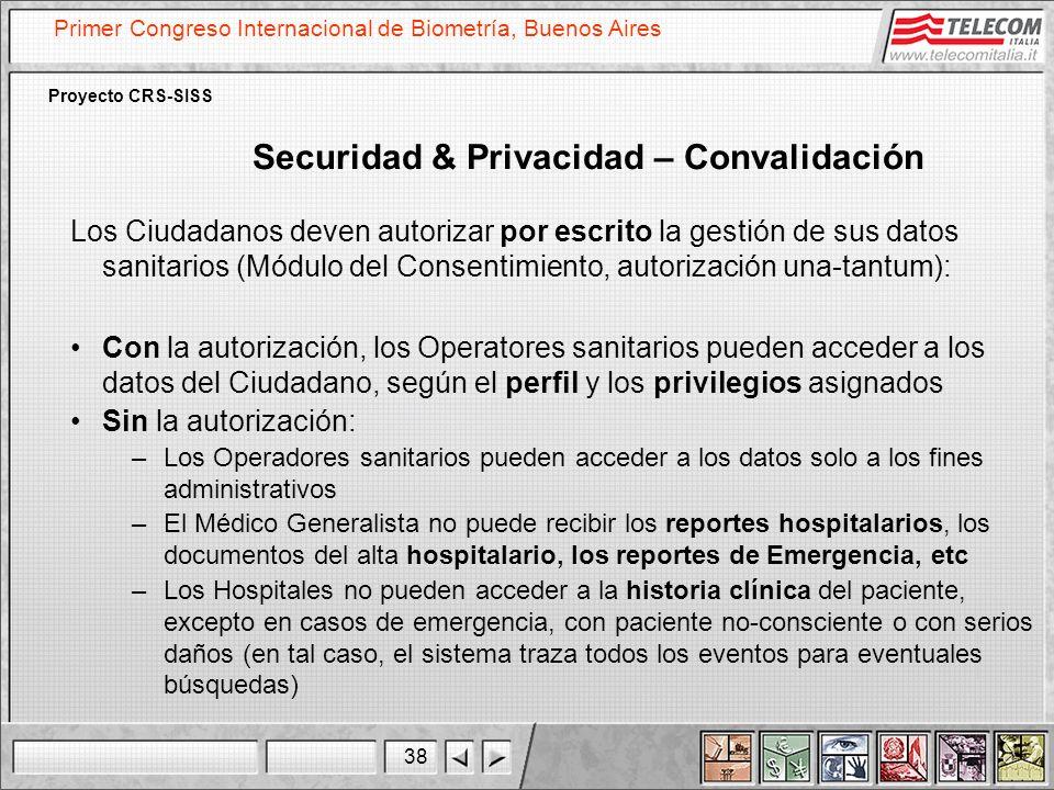 38 Primer Congreso Internacional de Biometría, Buenos Aires Proyecto CRS-SISS Securidad & Privacidad – Convalidación Los Ciudadanos deven autorizar po