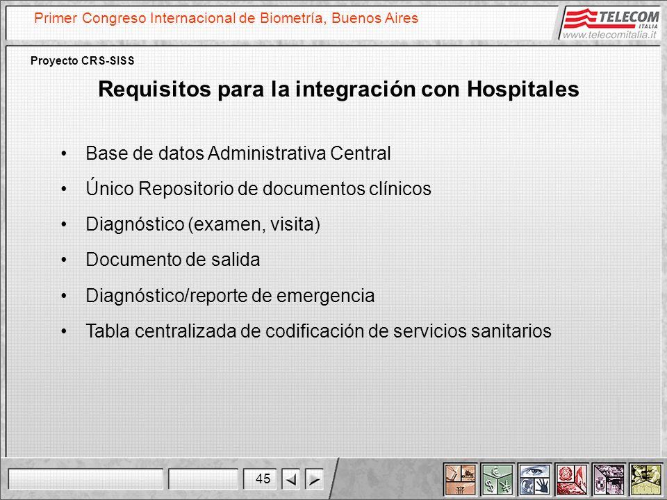 45 Primer Congreso Internacional de Biometría, Buenos Aires Proyecto CRS-SISS Requisitos para la integración con Hospitales Base de datos Administrati