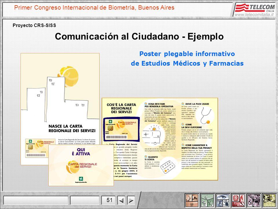 51 Primer Congreso Internacional de Biometría, Buenos Aires Proyecto CRS-SISS Comunicación al Ciudadano - Ejemplo Poster plegable informativo de Estud