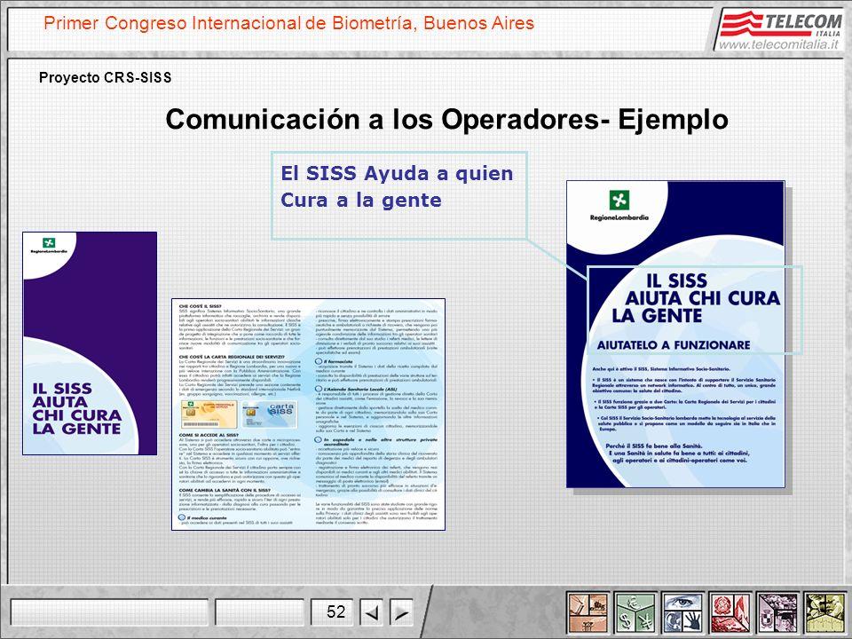 52 Primer Congreso Internacional de Biometría, Buenos Aires Proyecto CRS-SISS El SISS Ayuda a quien Cura a la gente Comunicación a los Operadores- Eje