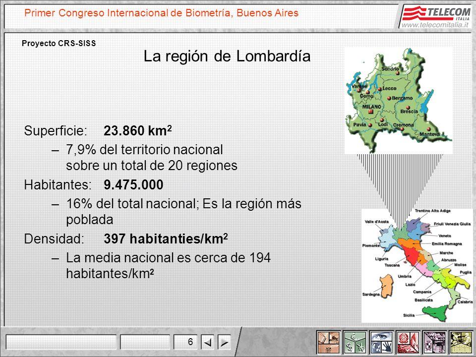 6 Primer Congreso Internacional de Biometría, Buenos Aires Proyecto CRS-SISS La región de Lombardía Superficie: 23.860 km 2 –7,9% del territorio nacio