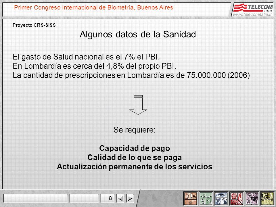 8 Primer Congreso Internacional de Biometría, Buenos Aires Proyecto CRS-SISS Algunos datos de la Sanidad Se requiere: Capacidad de pago Calidad de lo