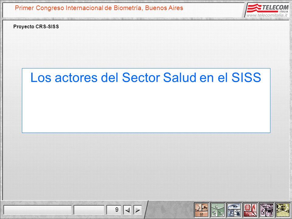 9 Primer Congreso Internacional de Biometría, Buenos Aires Proyecto CRS-SISS Los actores del Sector Salud en el SISS