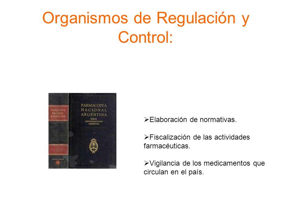 Organismos de Regulación y Control: Elaboración de normativas. Fiscalización de las actividades farmacéuticas. Vigilancia de los medicamentos que circ