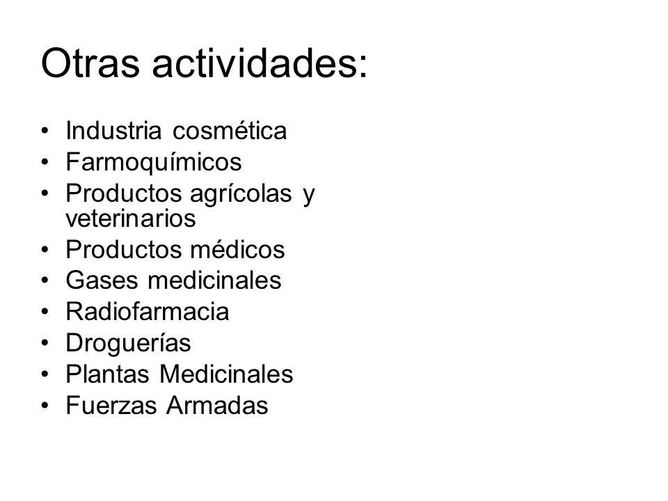 Otras actividades: Industria cosmética Farmoquímicos Productos agrícolas y veterinarios Productos médicos Gases medicinales Radiofarmacia Droguerías P