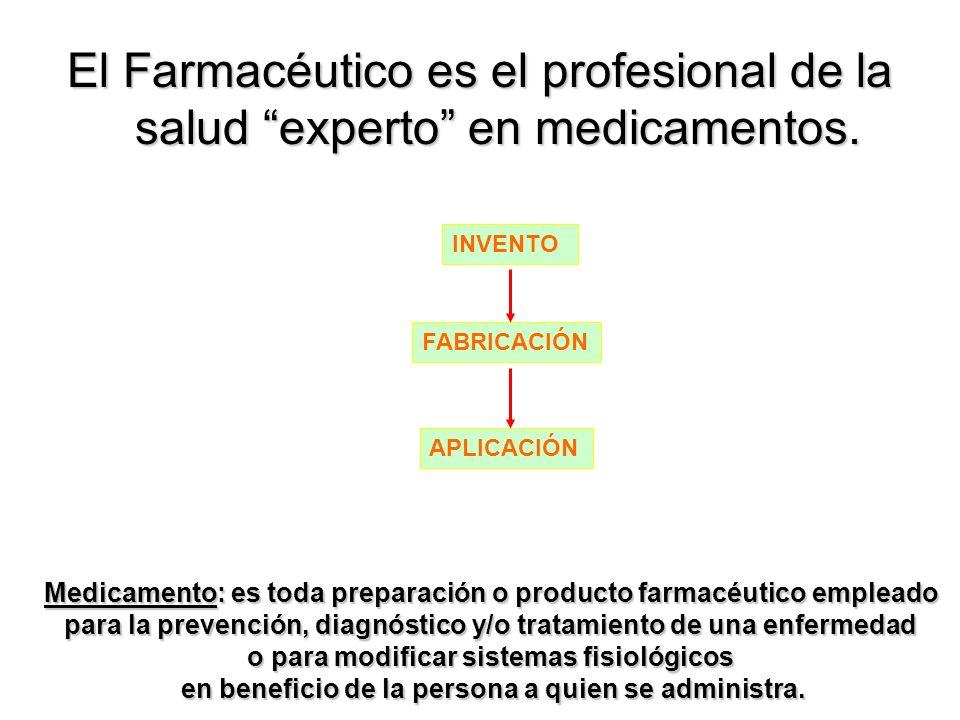 El Farmacéutico es el profesional de la salud experto en medicamentos. Medicamento: es toda preparación o producto farmacéutico empleado para la preve