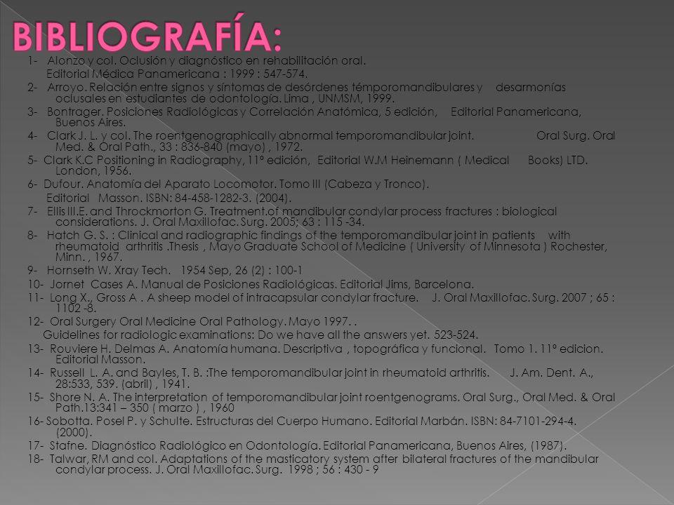 1- Alonzo y col. Oclusión y diagnóstico en rehabilitación oral. Editorial Médica Panamericana : 1999 : 547-574. 2- Arroyo. Relación entre signos y sín
