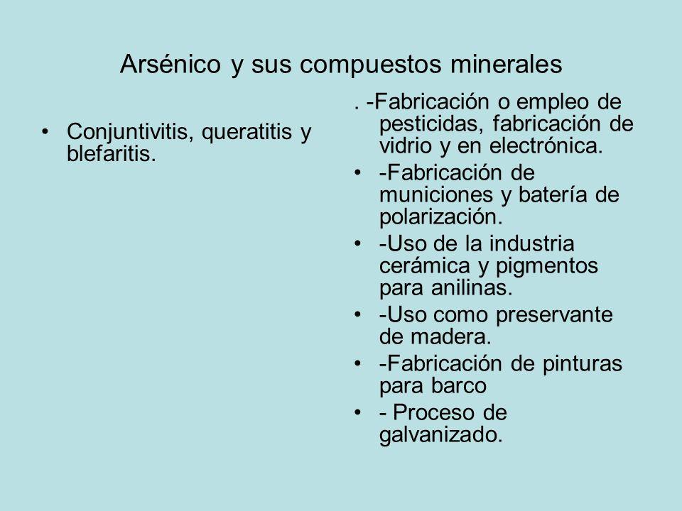 Arsénico y sus compuestos minerales Conjuntivitis, queratitis y blefaritis.. -Fabricación o empleo de pesticidas, fabricación de vidrio y en electróni