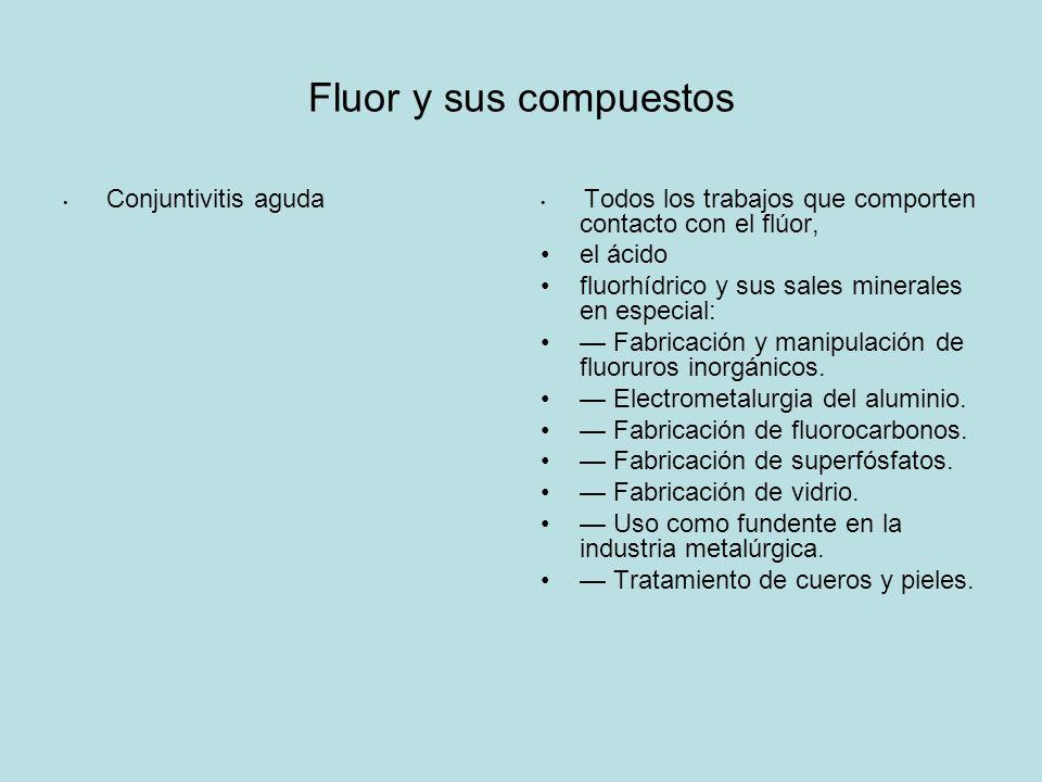 Fluor y sus compuestos Conjuntivitis aguda Todos los trabajos que comporten contacto con el flúor, el ácido fluorhídrico y sus sales minerales en especial: Fabricación y manipulación de fluoruros inorgánicos.