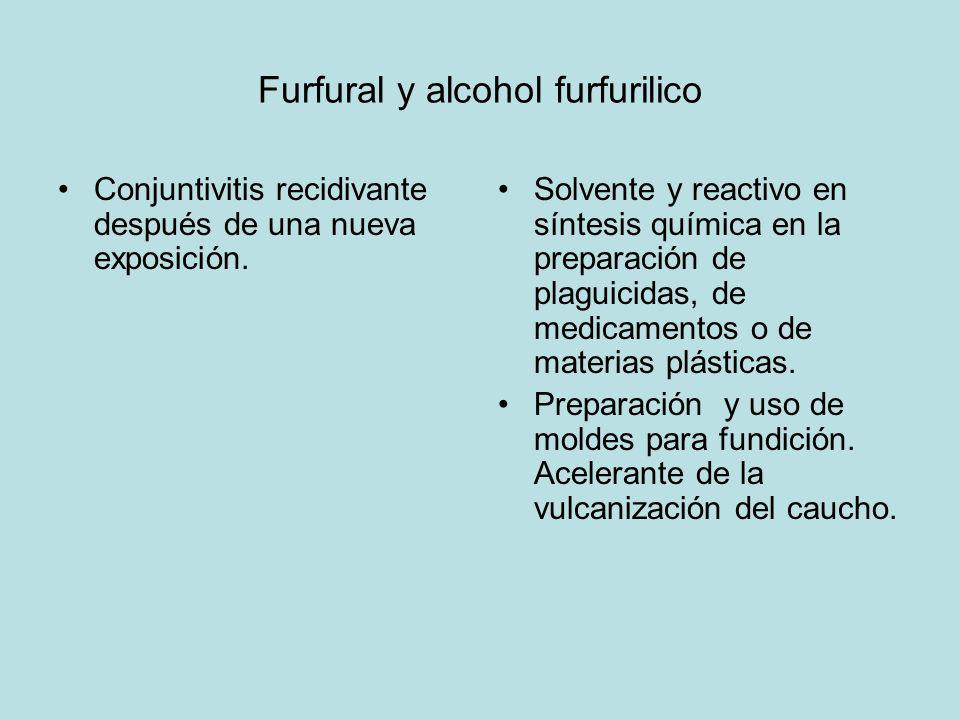 Furfural y alcohol furfurilico Conjuntivitis recidivante después de una nueva exposición. Solvente y reactivo en síntesis química en la preparación de