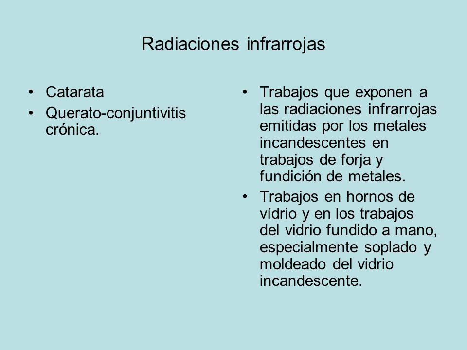Radiaciones infrarrojas Catarata Querato-conjuntivitis crónica. Trabajos que exponen a las radiaciones infrarrojas emitidas por los metales incandesce