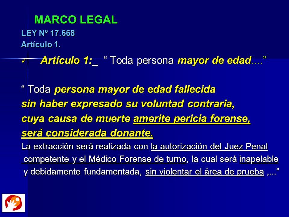 MARCO LEGAL LEY Nº 17.668 Artículo 1. Artículo 1: Toda persona mayor de edad.... Artículo 1: Toda persona mayor de edad.... Toda persona mayor de edad