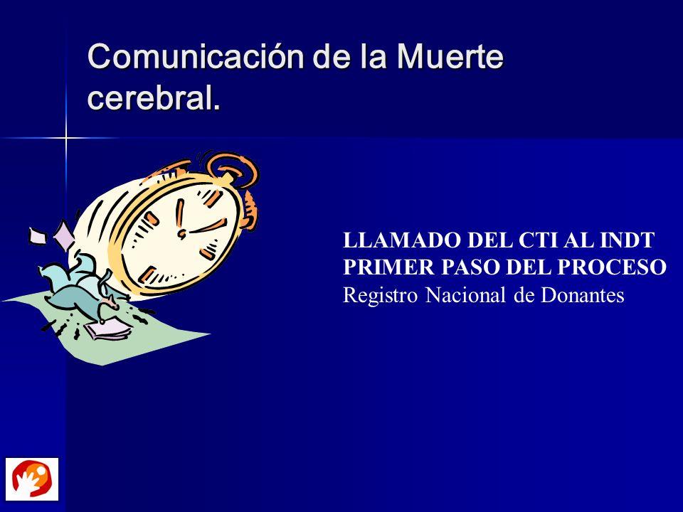 Comunicación de la Muerte cerebral. LLAMADO DEL CTI AL INDT PRIMER PASO DEL PROCESO Registro Nacional de Donantes